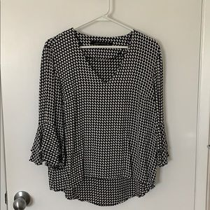 2/20: Zara Houndstooth Blouse with 3/4 Bell Sleeve